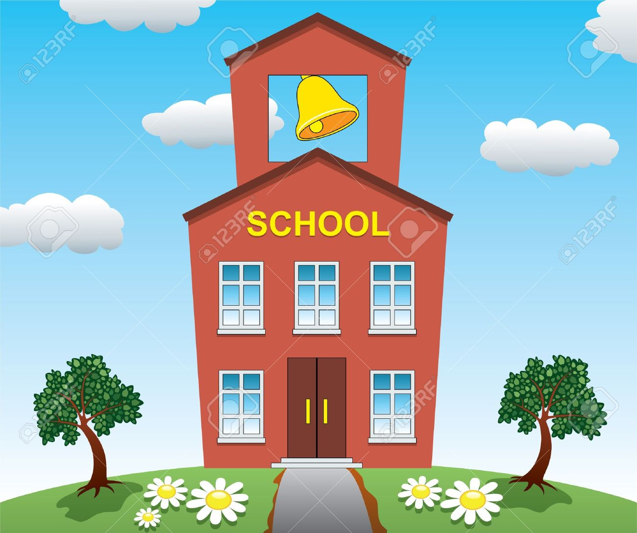 Illustration of school house Stock Vector - 10278431