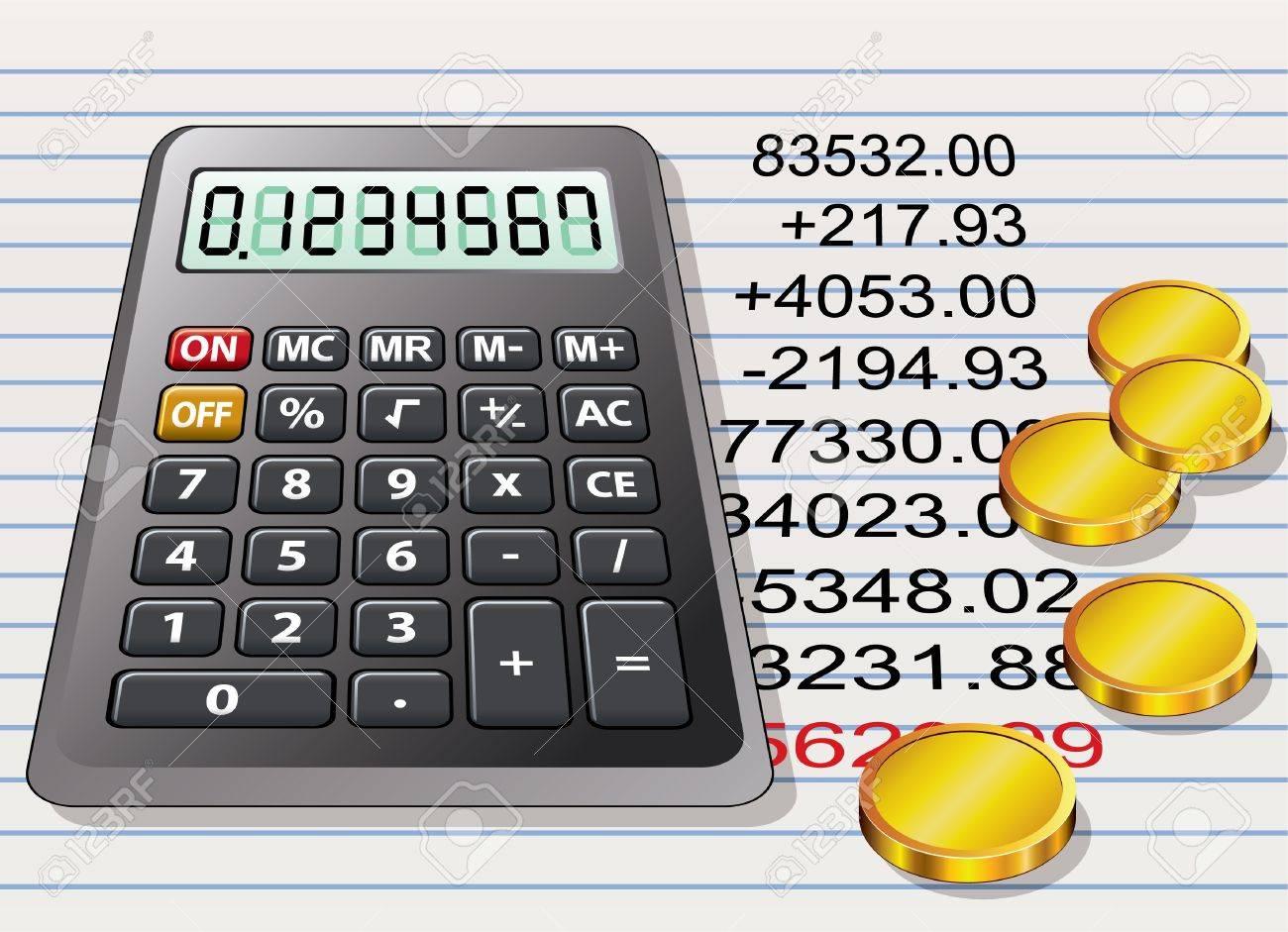 Calculadora, Monedas De Oro Y Una Hoja De Papel Con Cálculo ...