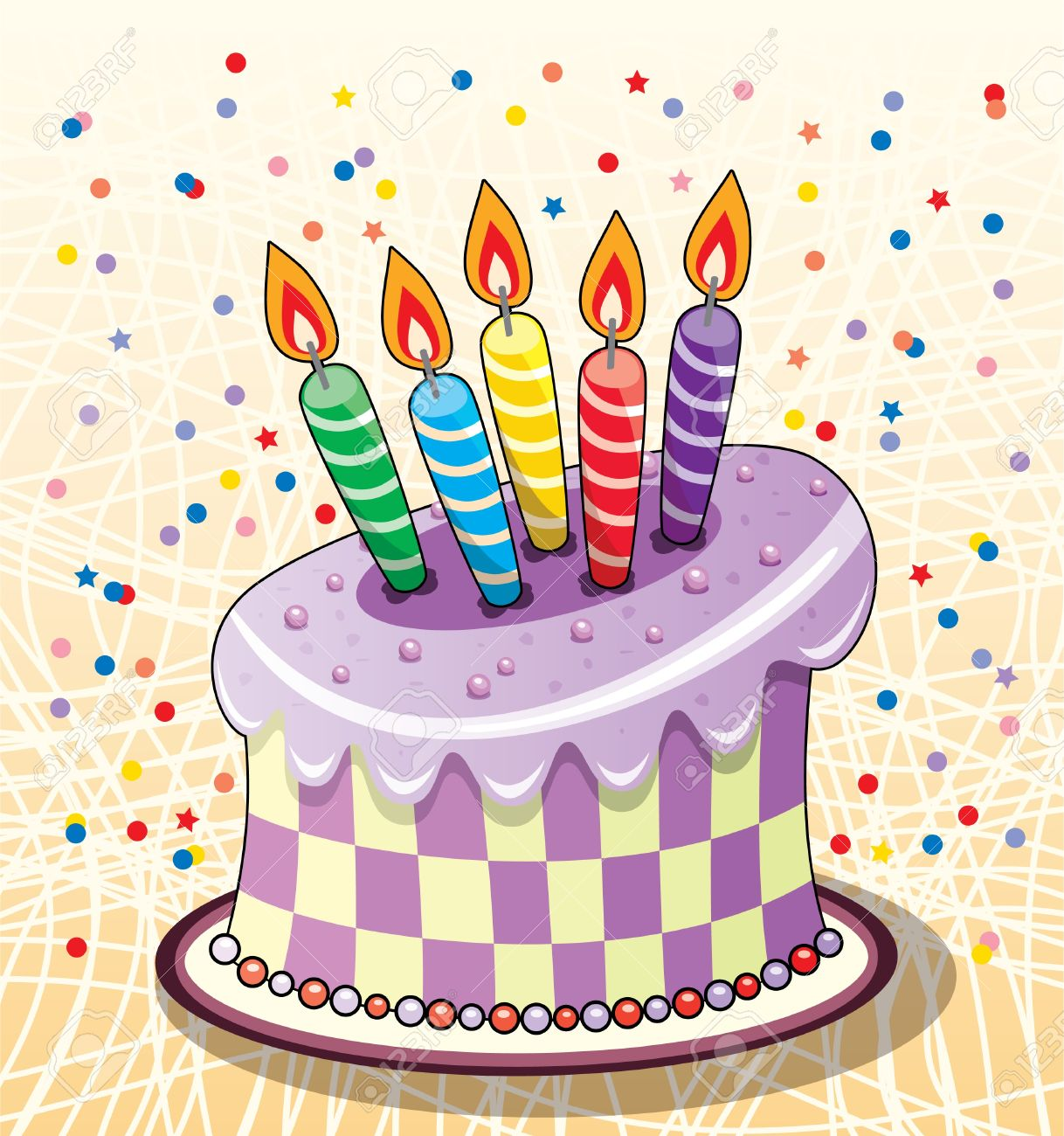 Birthday Cake With Candles And Confetti Royalty Free Cliparts