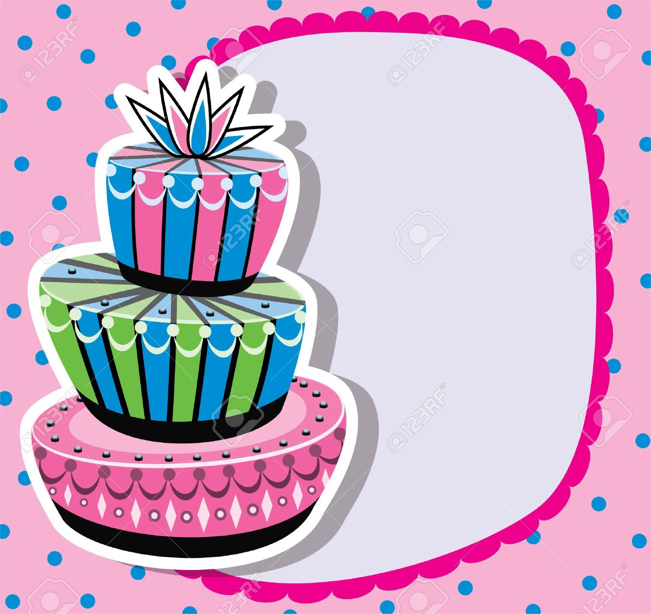 Card With Birthday Cake And Copyspace Royalty Free Cliparts – Birthday Cards Borders