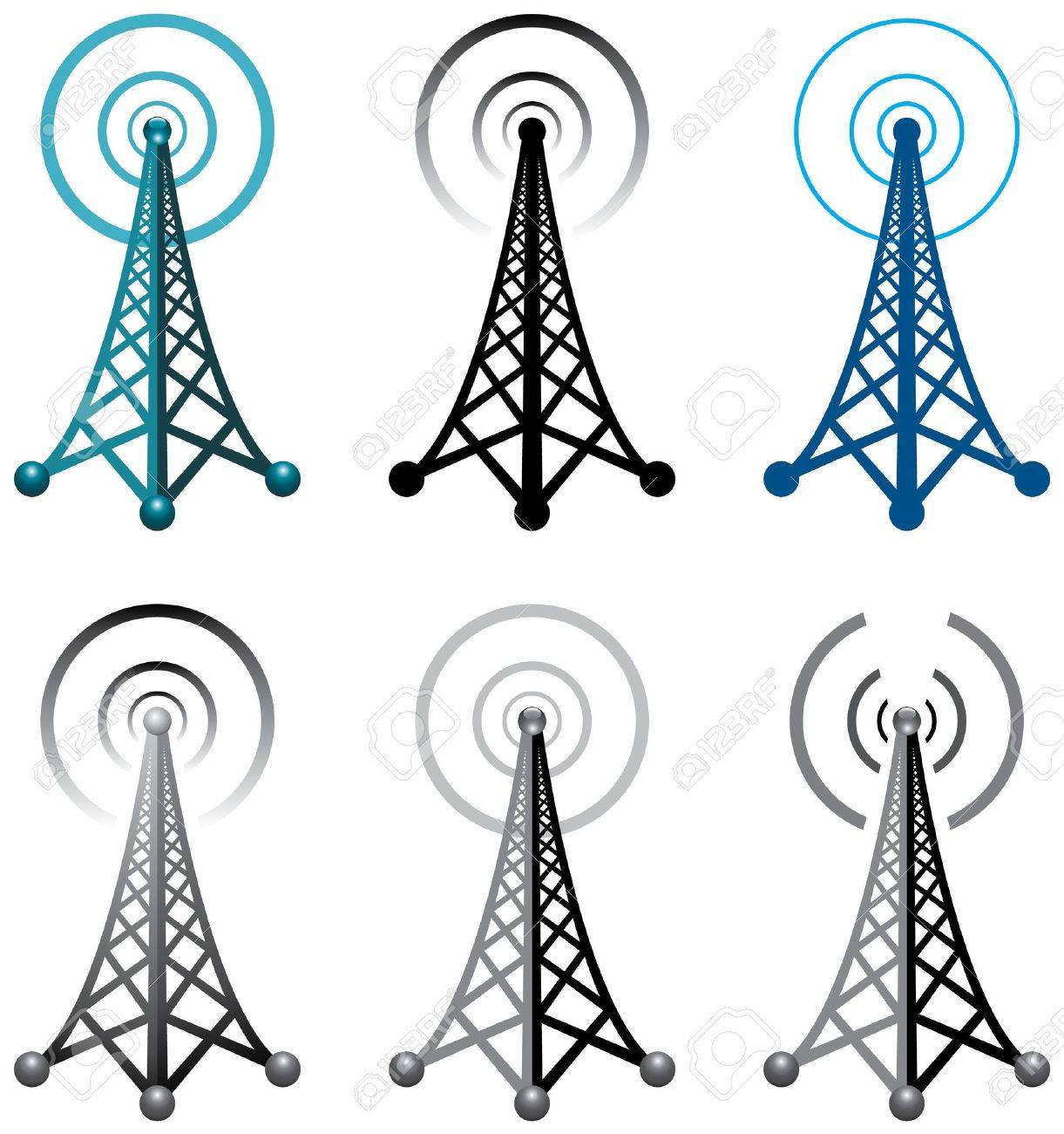 Broadcast Tower Vector Design of radio tower symbols
