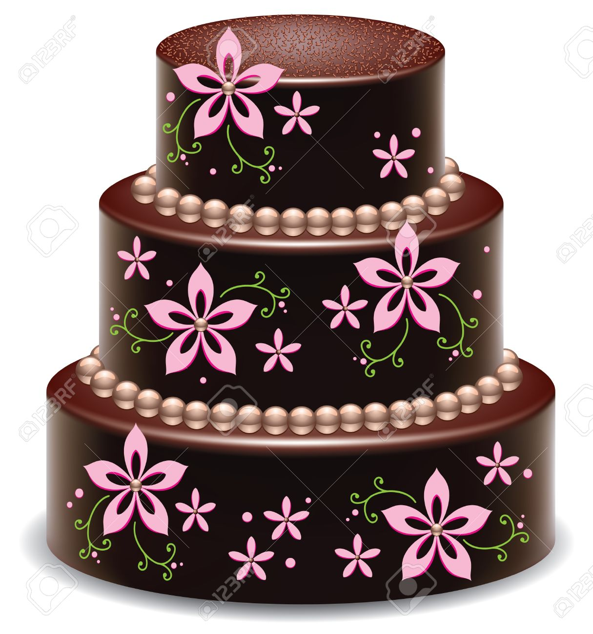 Vector Design Of A Big Delicious Chocolate Cake Royalty Free ...