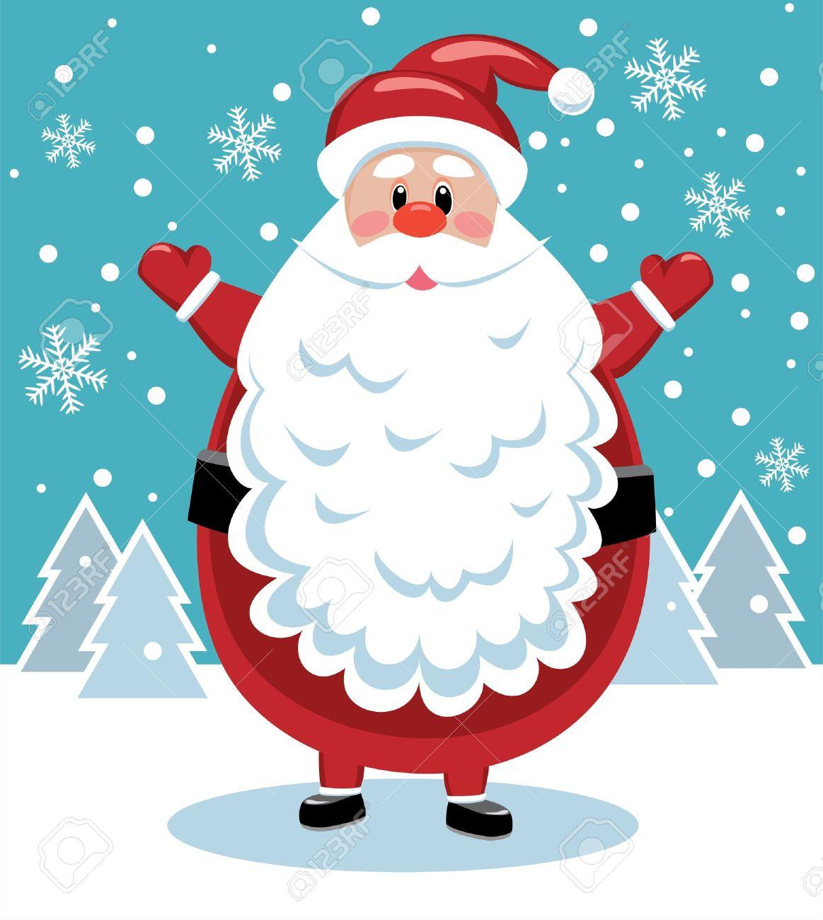 ベクトル大きなひげとサンタのクリスマス イラスト ロイヤリティフリー
