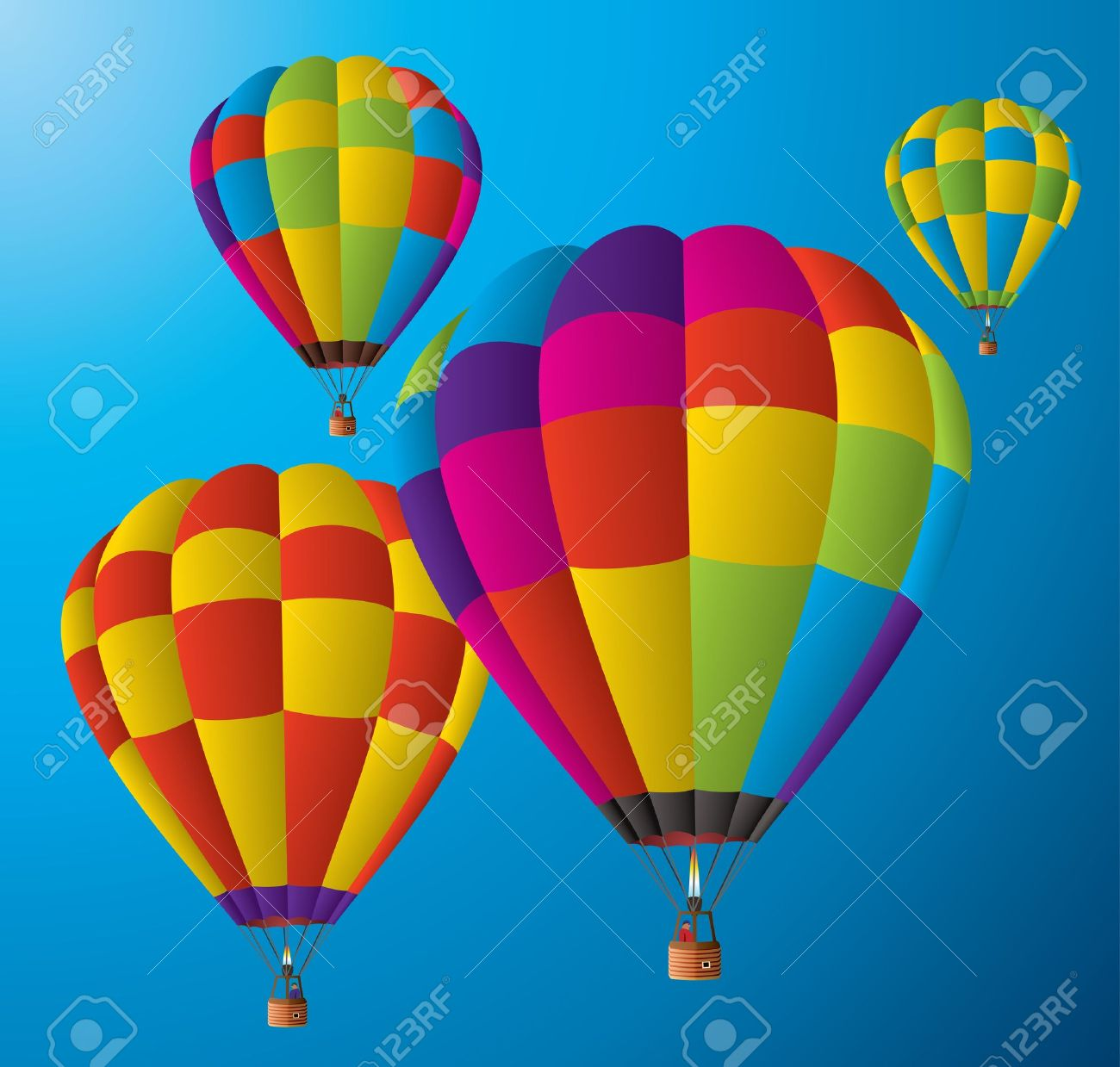 vector air balloons in the sky royalty free cliparts vectors
