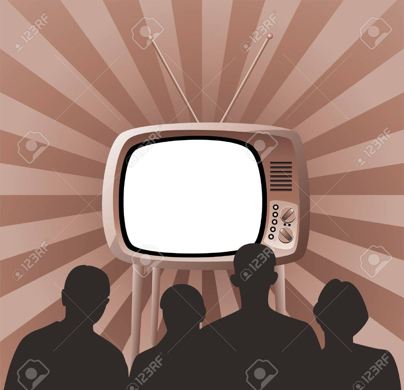 Illustration of family watching retro tv set Stock Vector - 11011525