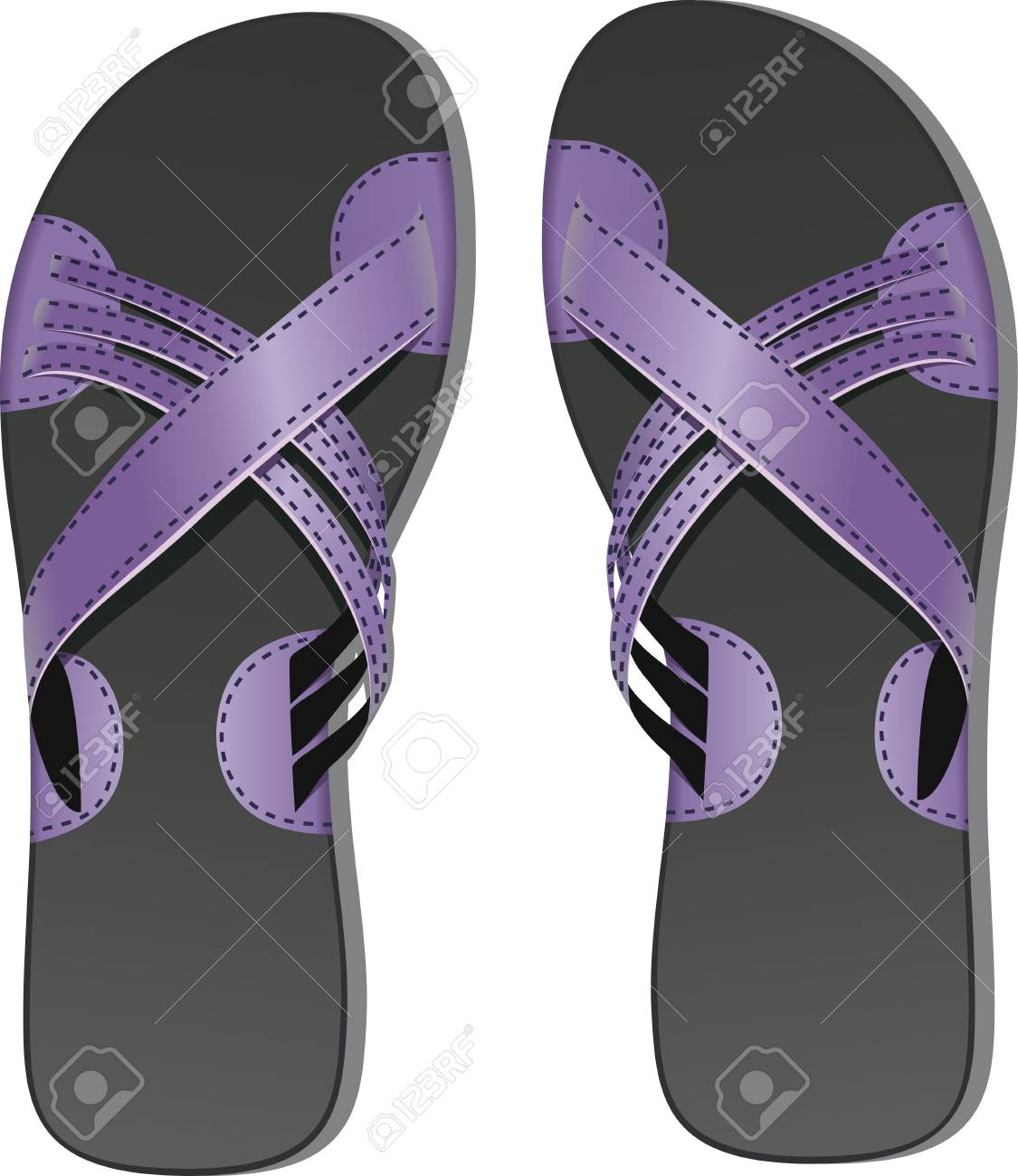 Pair of leather flip flops Stock Vector - 11011531