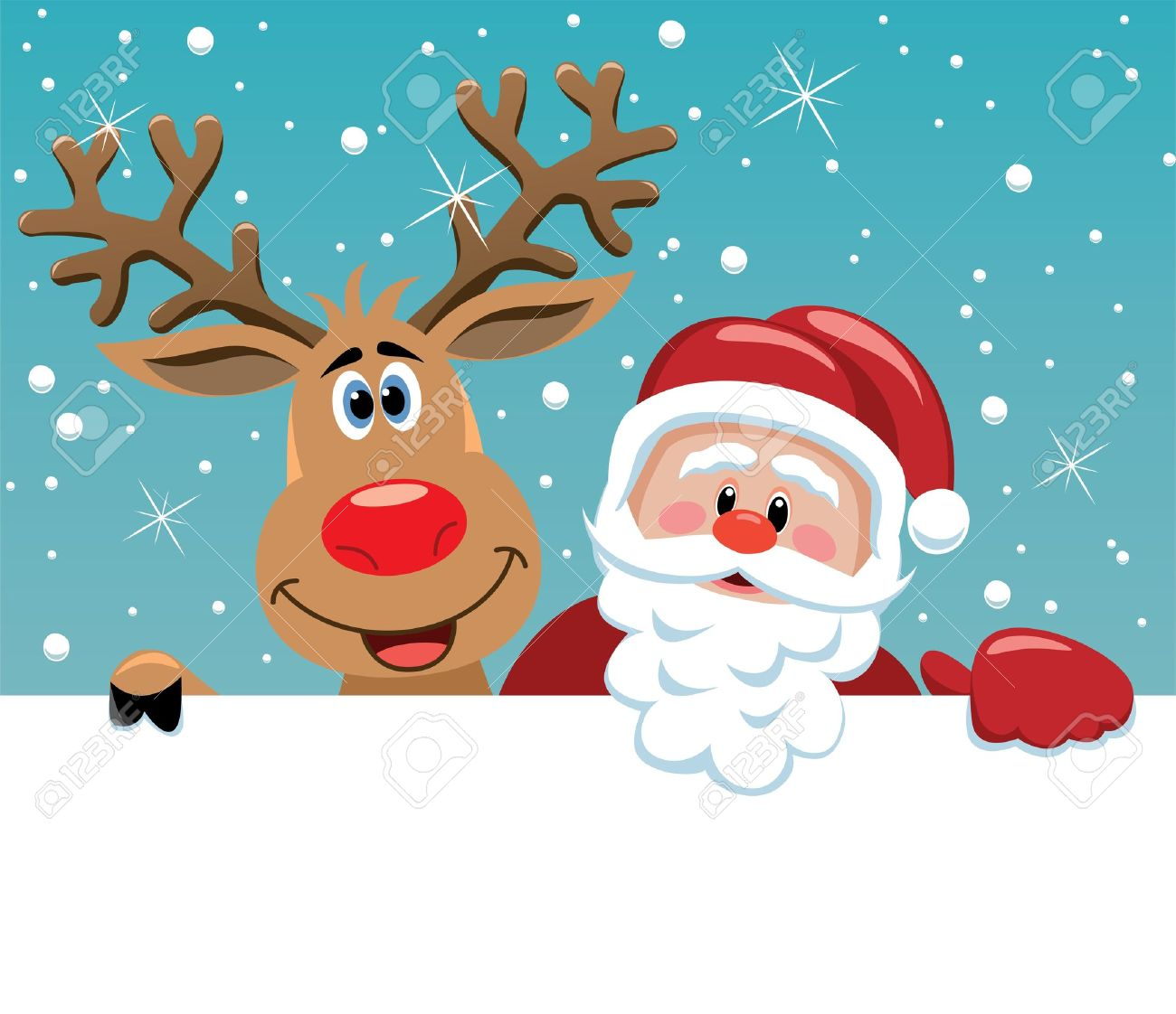 christmas illustration of santa claus and rudolph deer stock vector 11011534 - Rudolph And Santa