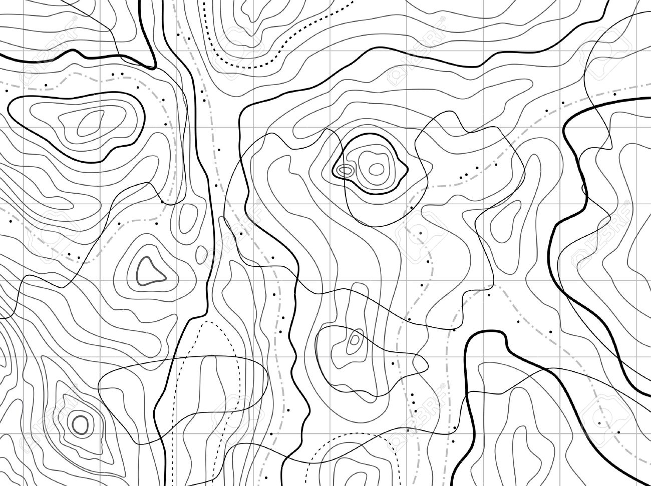 Abstract Topographical Map With No Names Royalty Free Cliparts - Topographical map