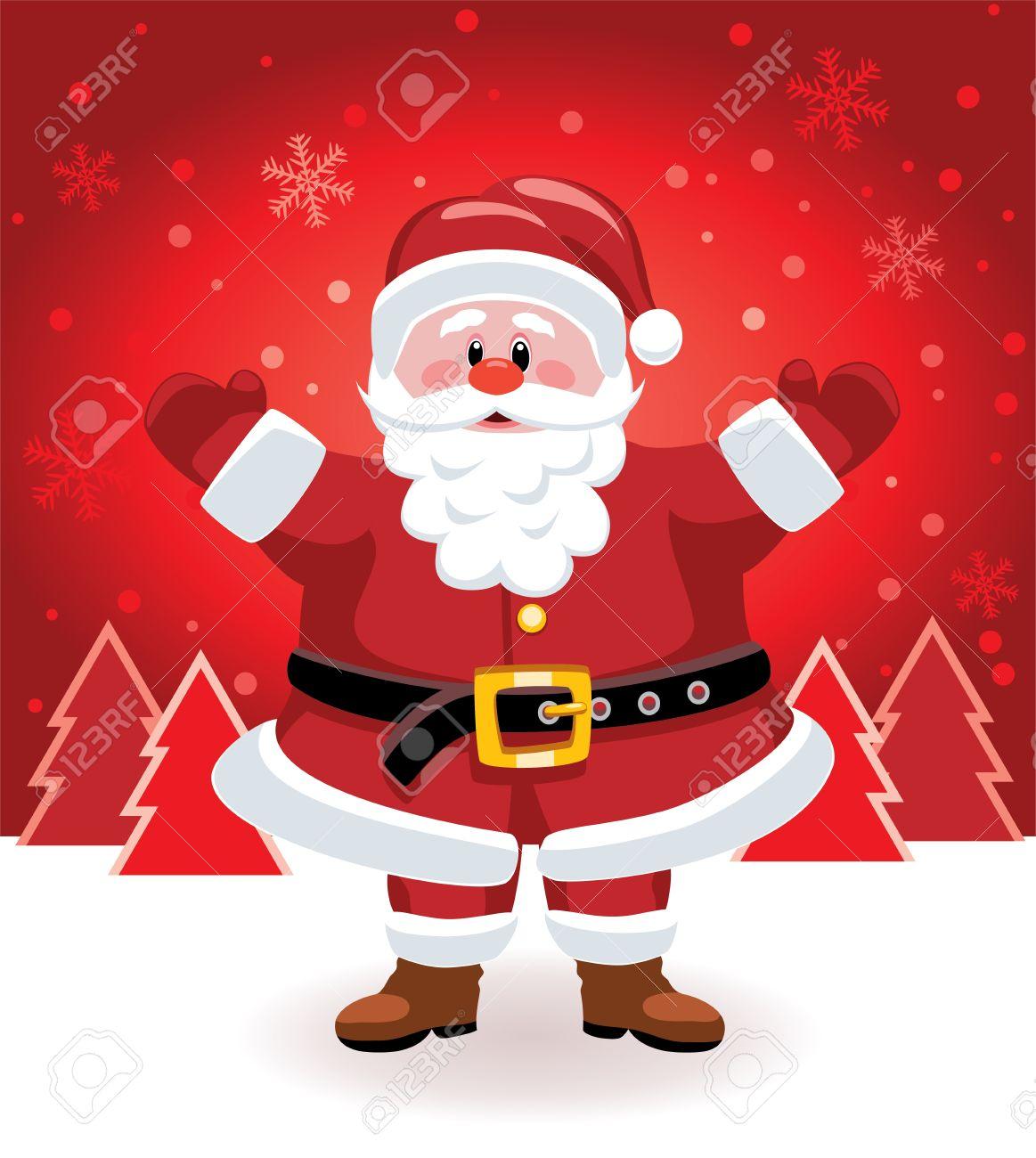 Imagenes De Papa Noel De Navidad.Vector De Navidad Ilustracion De Papa Noel