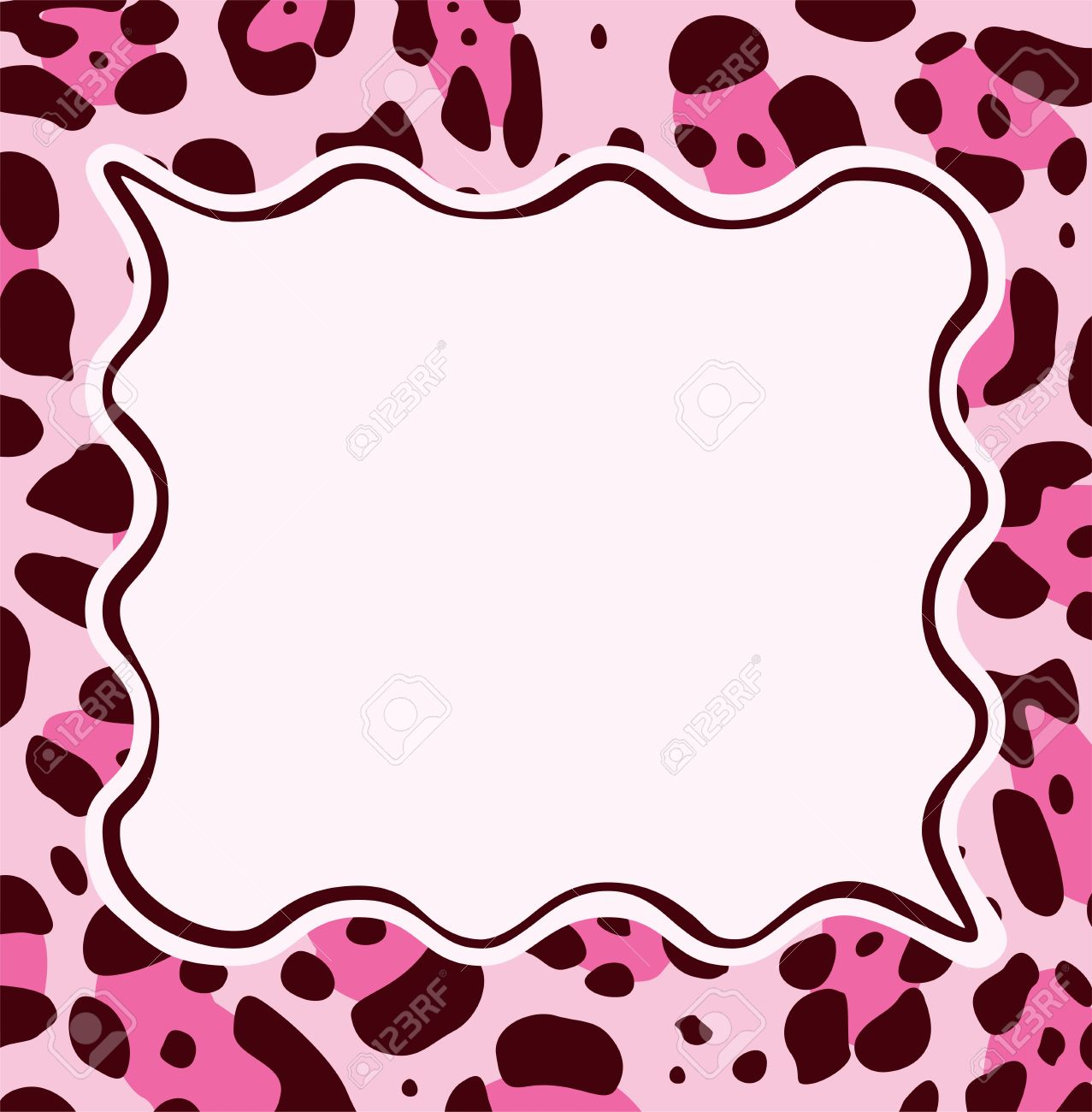 vector frame with abstract leopard skin texture and copy space rh 123rf com leopard paw print clip art pink leopard print clipart