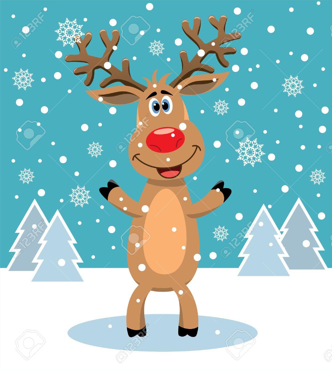 赤鼻のトナカイのクリスマス イラストをベクトルしますのイラスト素材
