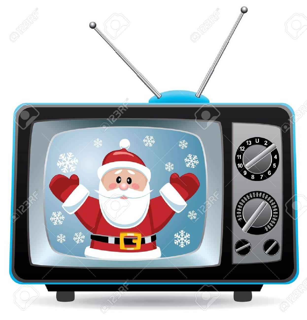 vector christmas illustration of santa claus in retro tv set Stock Vector - 11464007