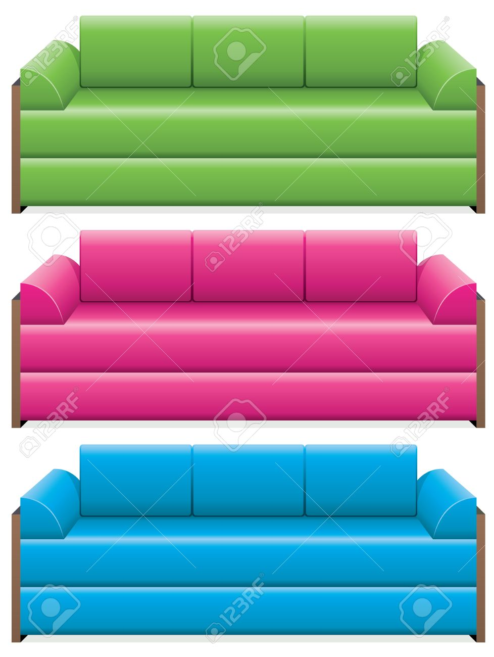 Vector Set Of Colorful Sofas Royalty Free Cliparts Vectors And