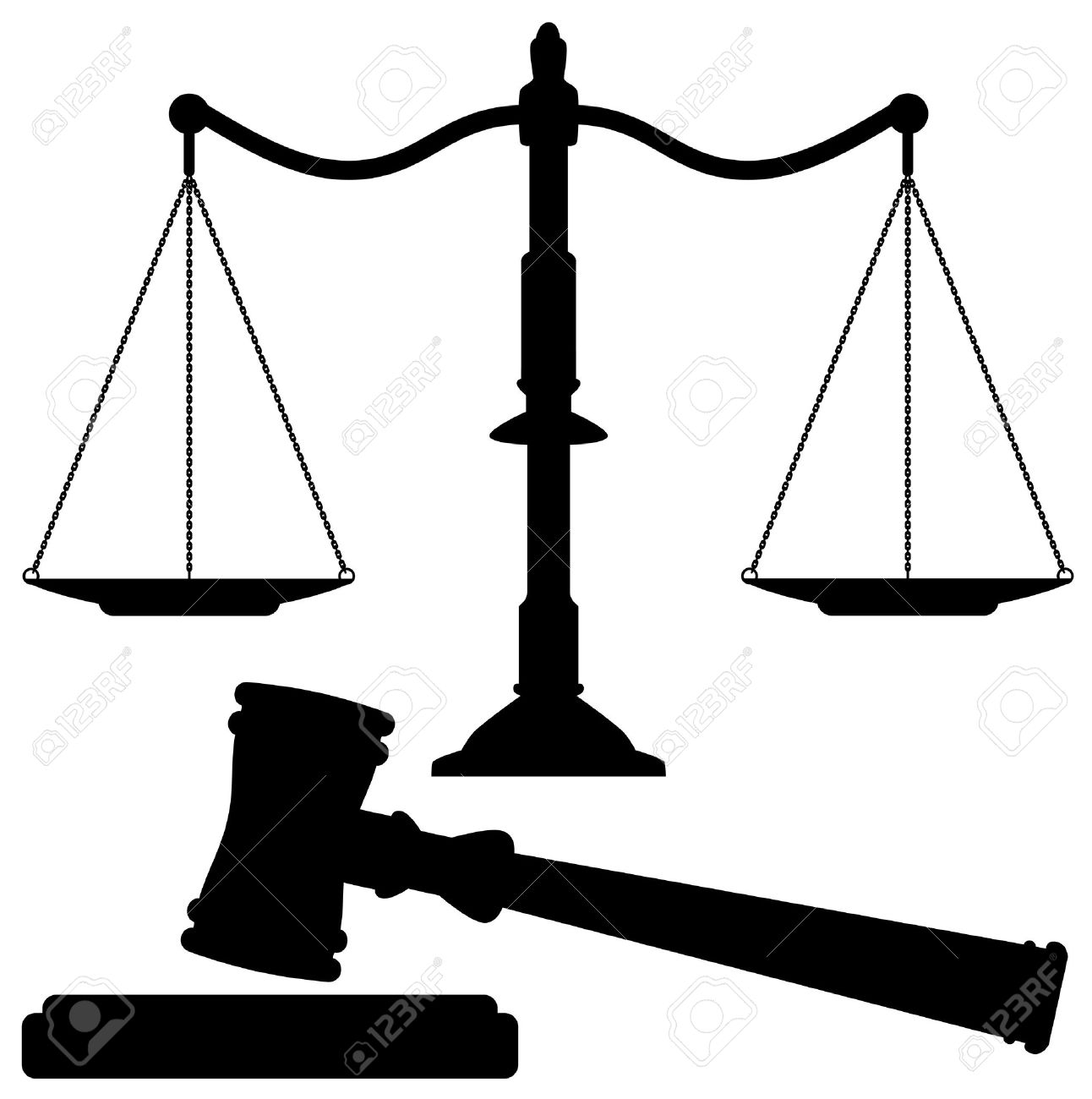 vector scales of justice and gavel Stock Vector - 11941677