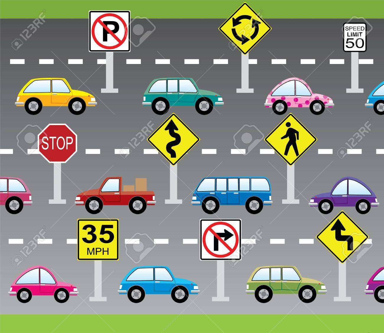 vector illustration of cars and road signs Stock Vector - 12496961
