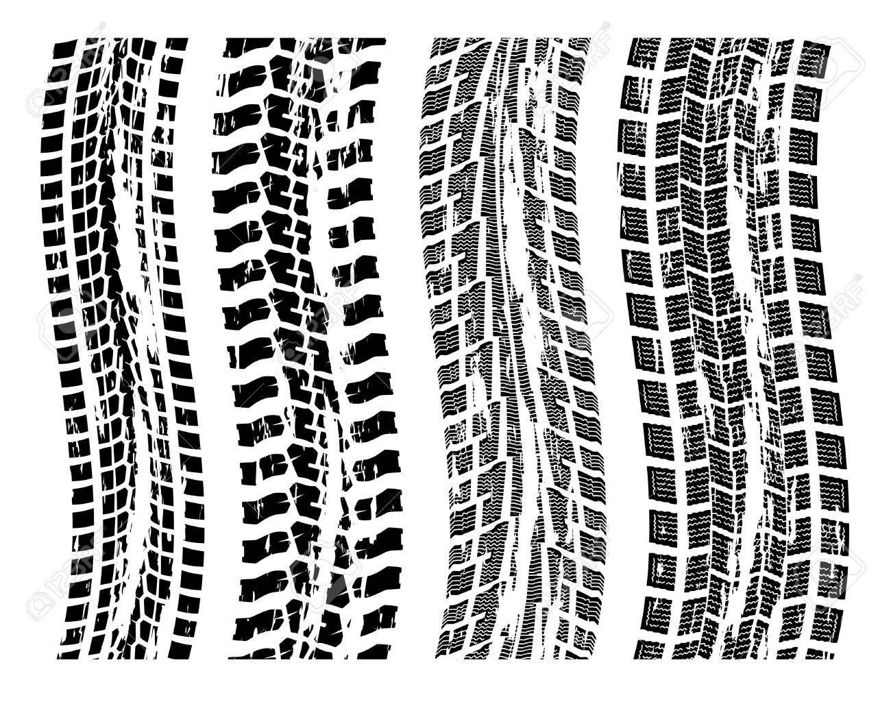 vector set of grungy tire prints Stock Vector - 12496953