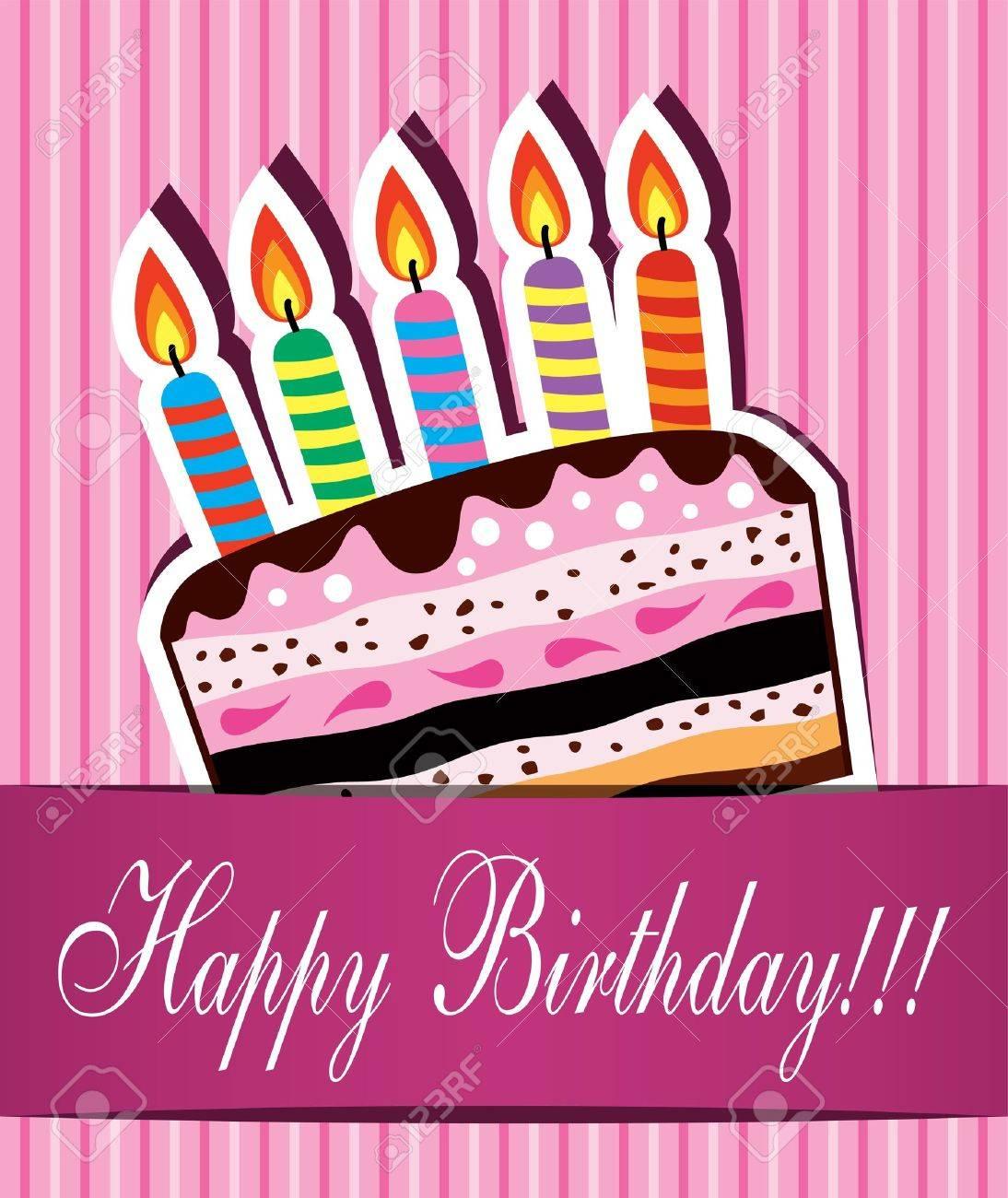 foto de archivo vector de tarjeta de cumpleaos con pastel de chocolate y velas encendidas
