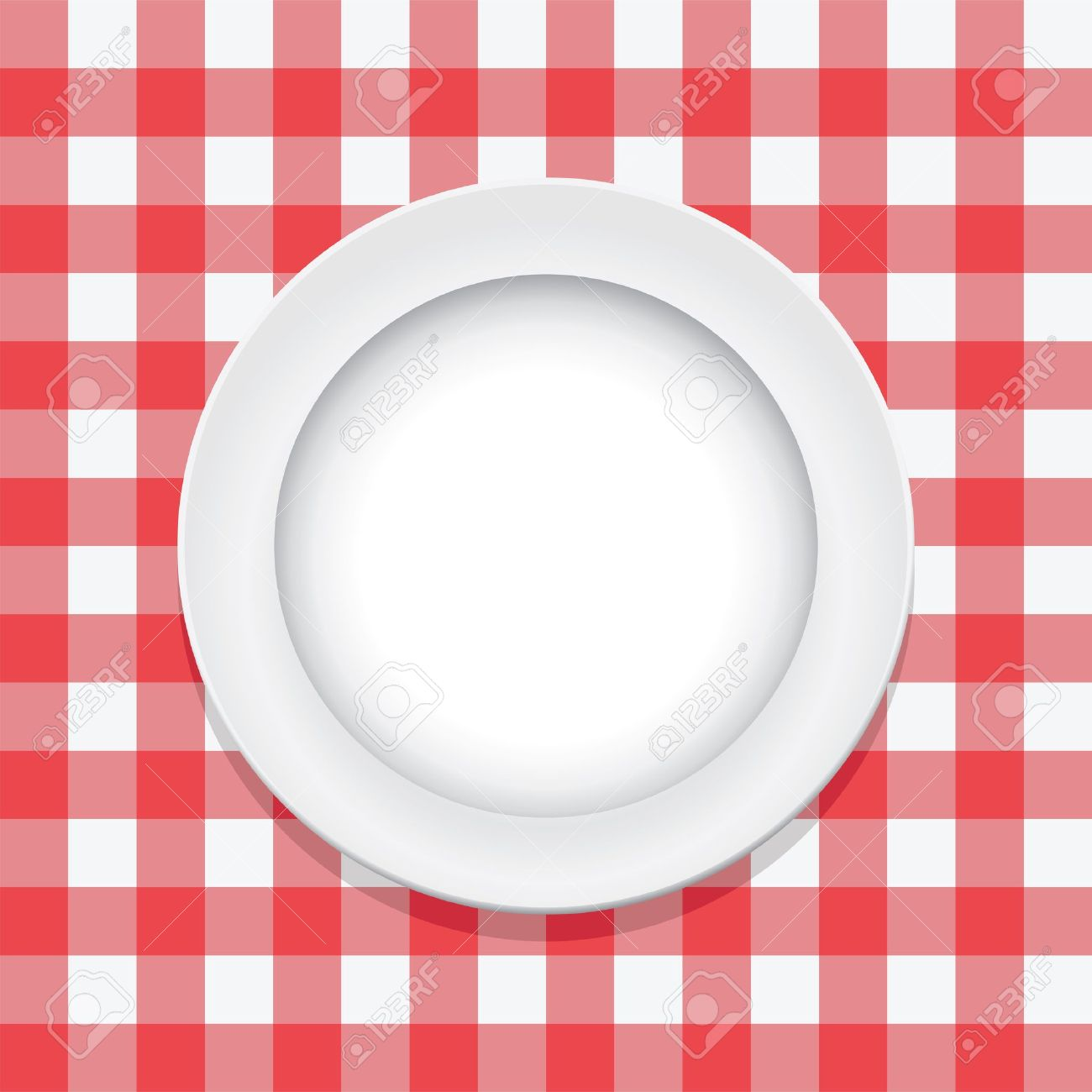 Table Cloth: Vector Red Picnic Tablecloth And Empty Plate