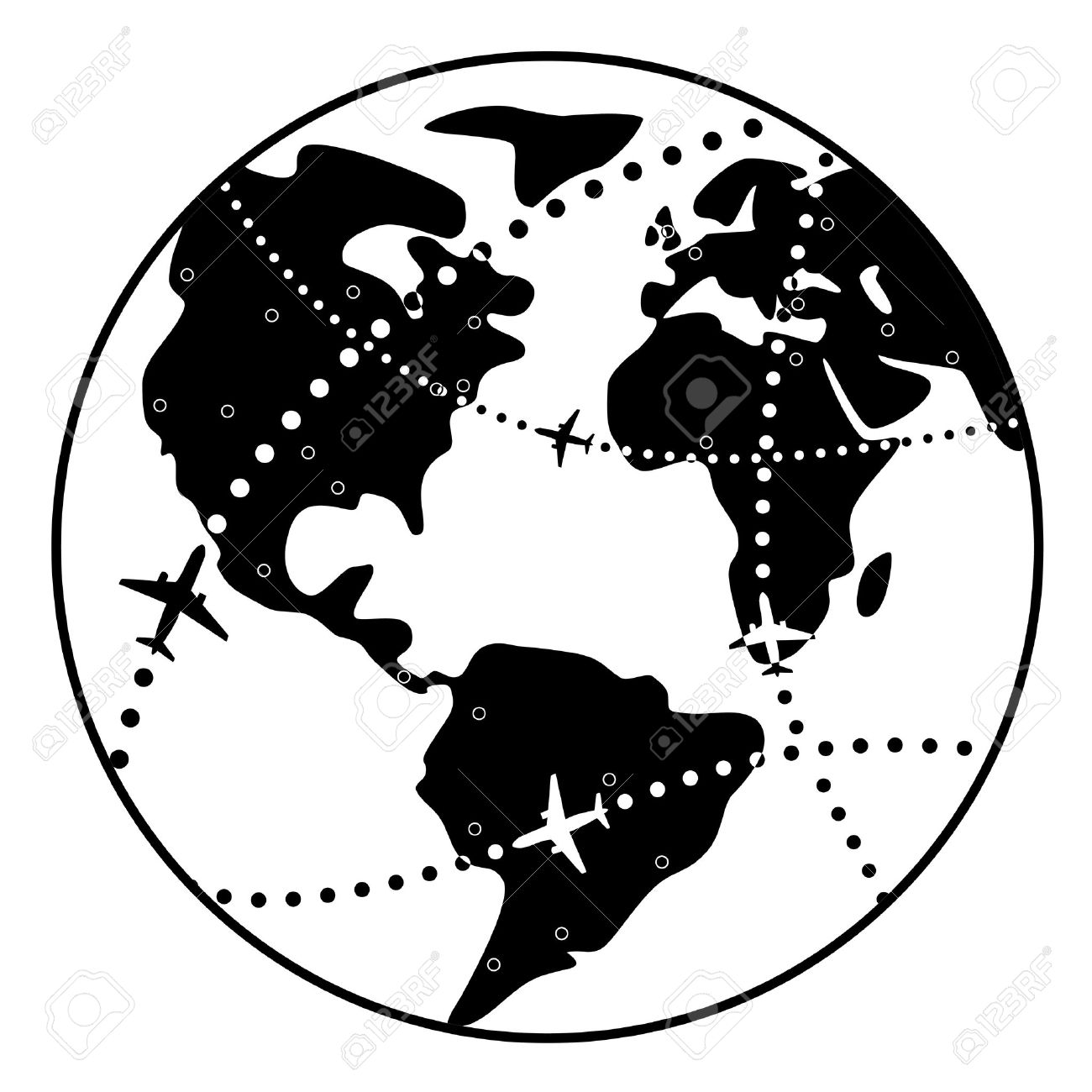 Vector Black And White Illustration Of Airplane Flight Paths Over Earth  Globe Stock Vector   12496993