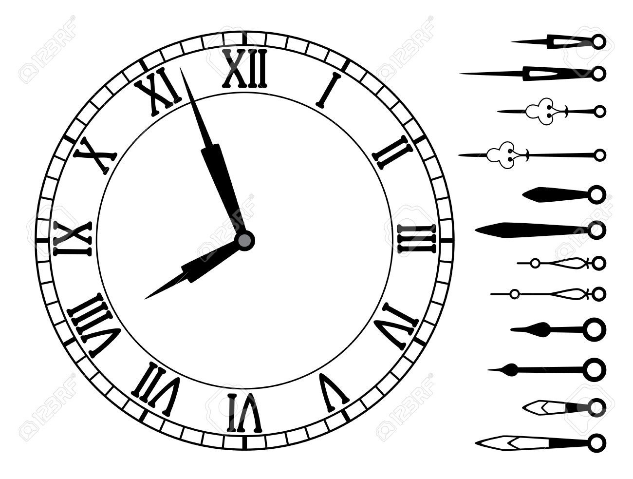 vector clock dial with roman numbers and set of clock hands royalty rh 123rf com free vector clock hands Vintage Clock Vector