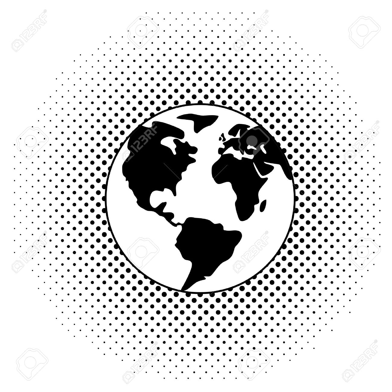 Lovely Vector Black And White Illustration Of Earth Globe Stock Vector   12927976