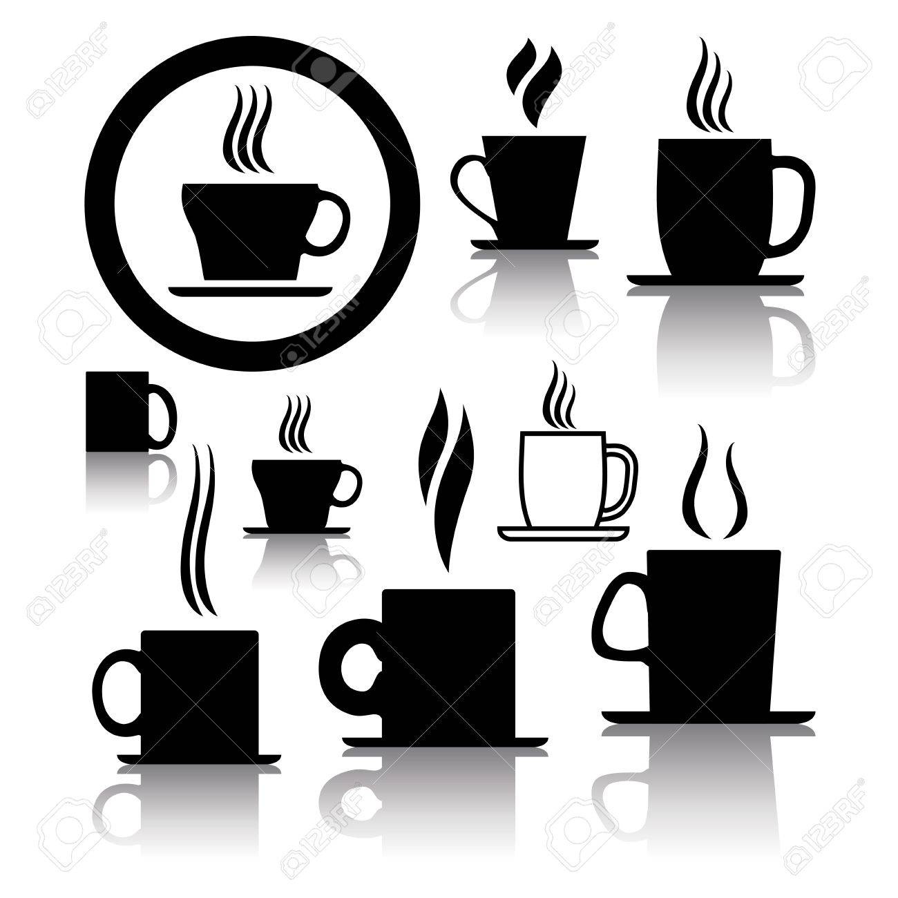 Larger preview vector clip art of a happy yellow coffee cup character - Coffee Mug Vector Set Of Coffee And Tea Cup Icons And Symbols