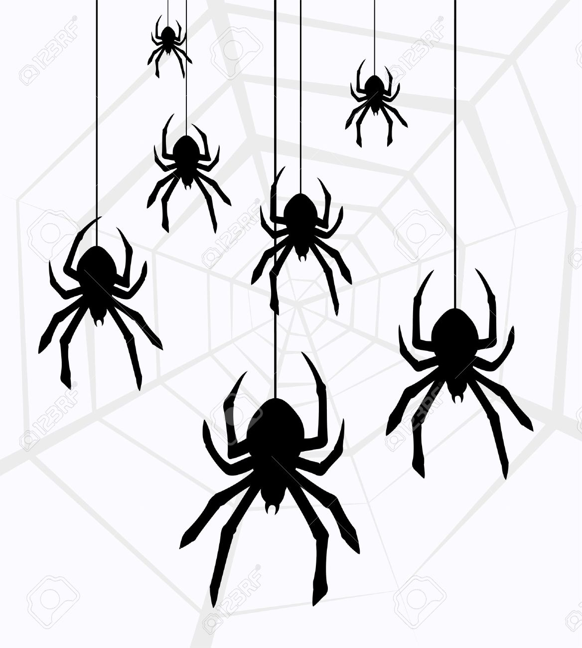 illustration of hanging spiders and web royalty free cliparts