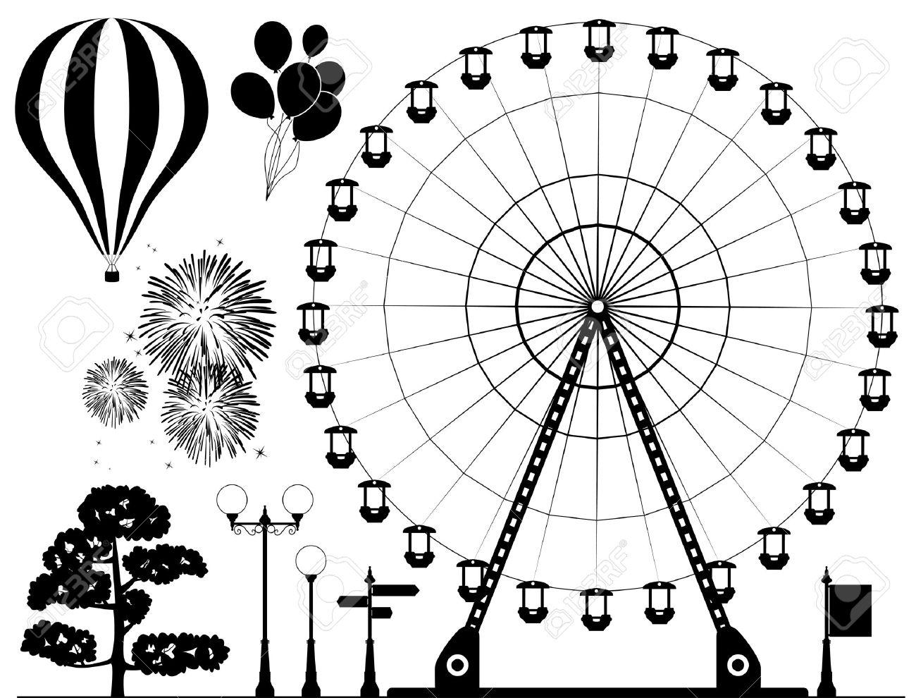 Elementos En Blanco Y Negro De Parque De Atracciones Rueda De La