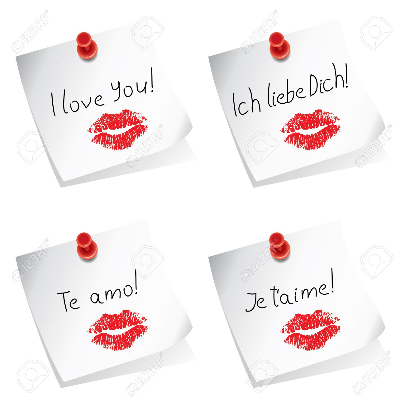 paper notes with pushpin and I love you words in english, german, spanish and french Stock Vector - 18032476