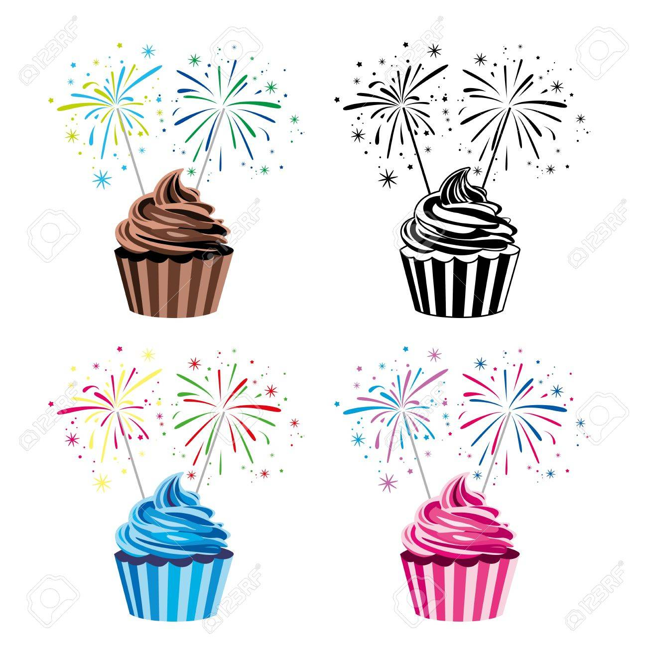 collection of colorful fruit and chocolate birthday cupcakes with burning sparklers Stock Vector - 20302629