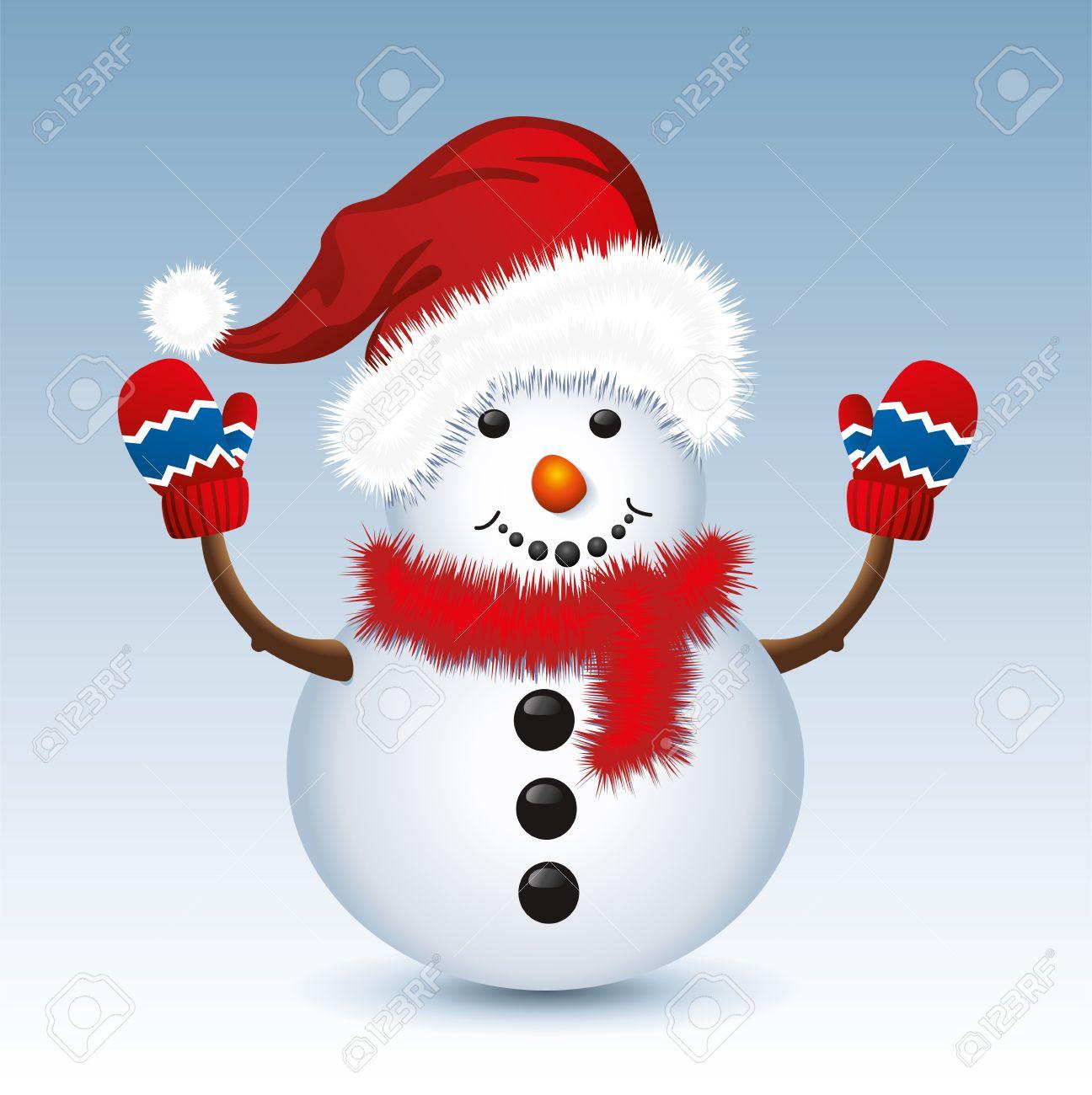 Vektor-Illustration Der Weihnachtsschneemann Mit Weihnachtsmütze Und ...