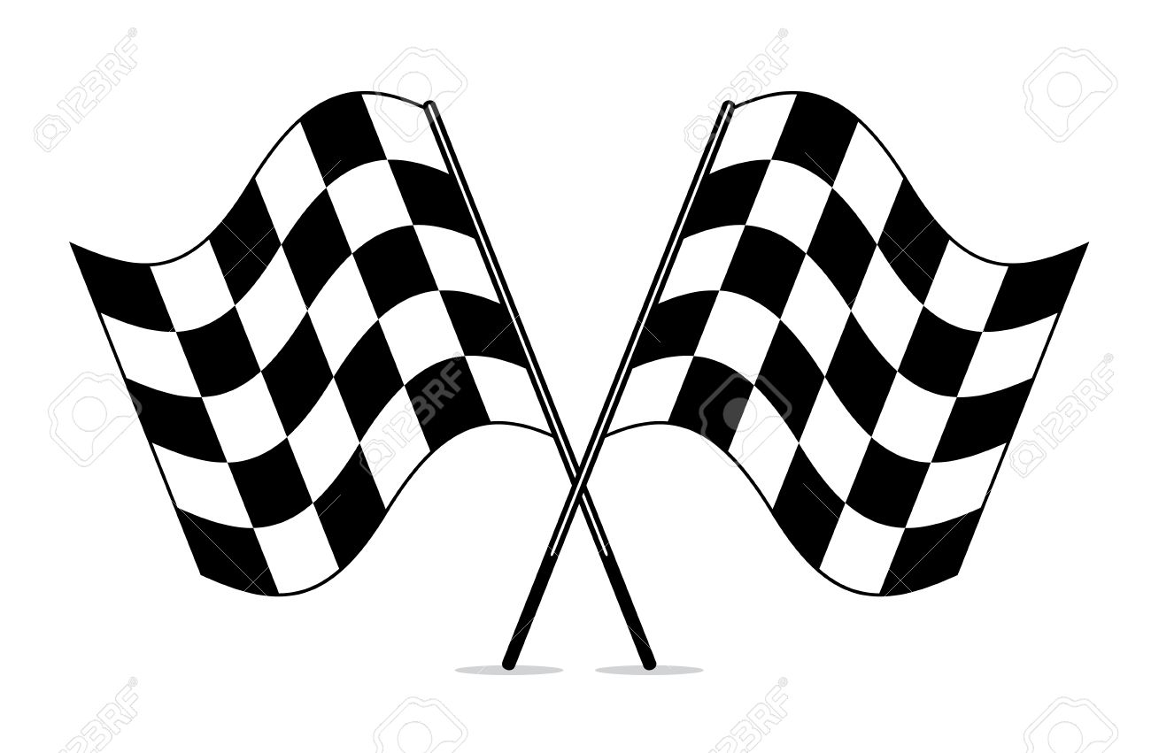 vector black and white crossed racing checkered flags clipart rh 123rf com checkered flag clipart checkered flag clip art downloads