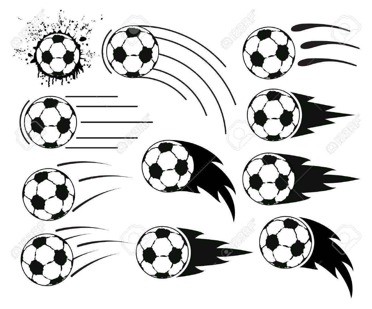 Diseños Grunge Del Fútbol De Vuelo Y Pelotas De Fútbol Ilustraciones