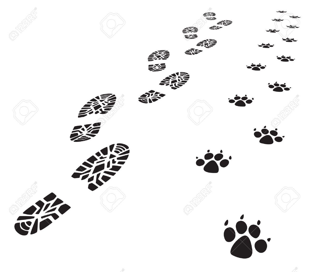 vector foot prints of man and dog - 31811097