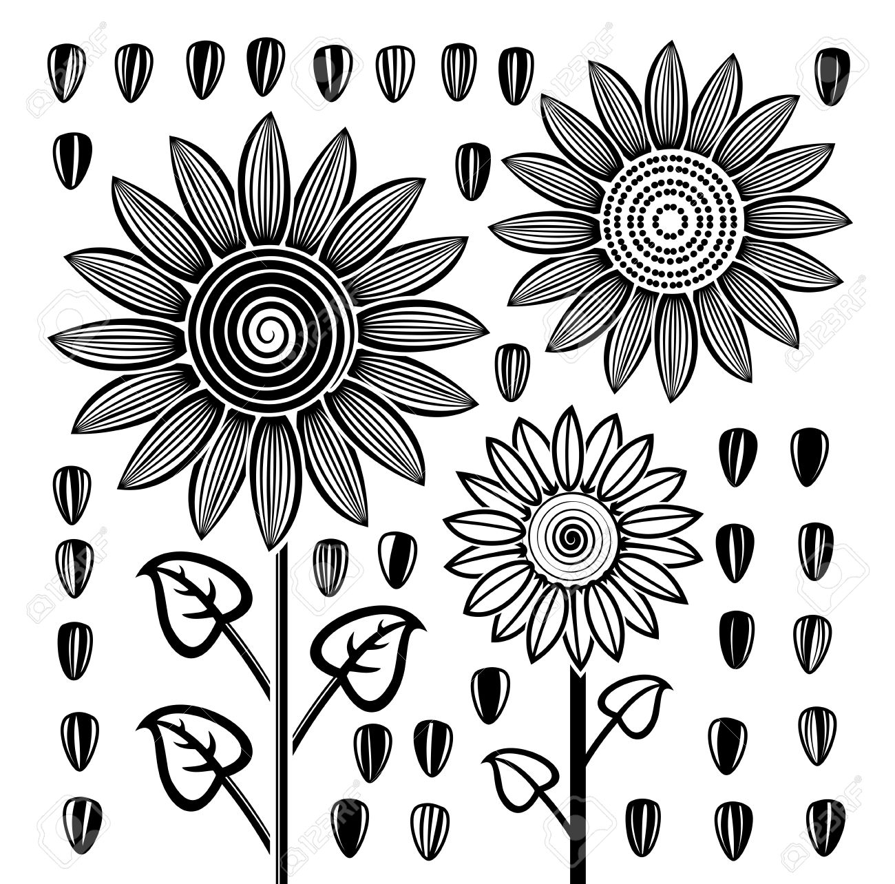 Black And White Drawings of Sunflowers Black And White Drawing of