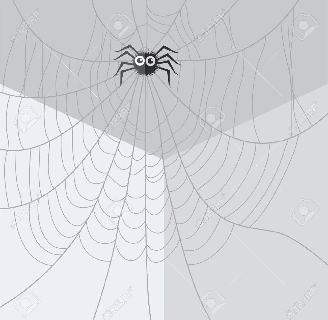 Web Spider Vector Vector Cartoon of Spider And