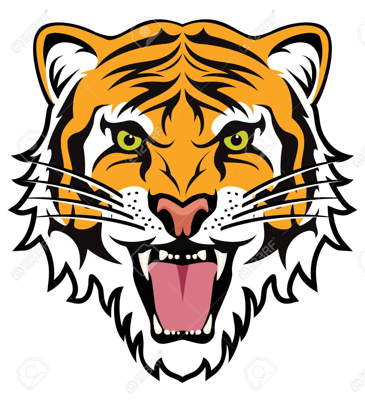 stylized face of angry tiger - 54121928