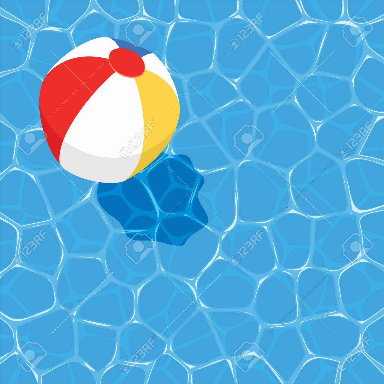 vector summer background with ball floating on water - 57956823