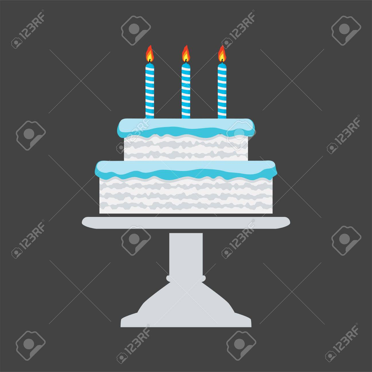 Vector Icon Of Blue Birthday Cake On A Stand Royalty Free Cliparts