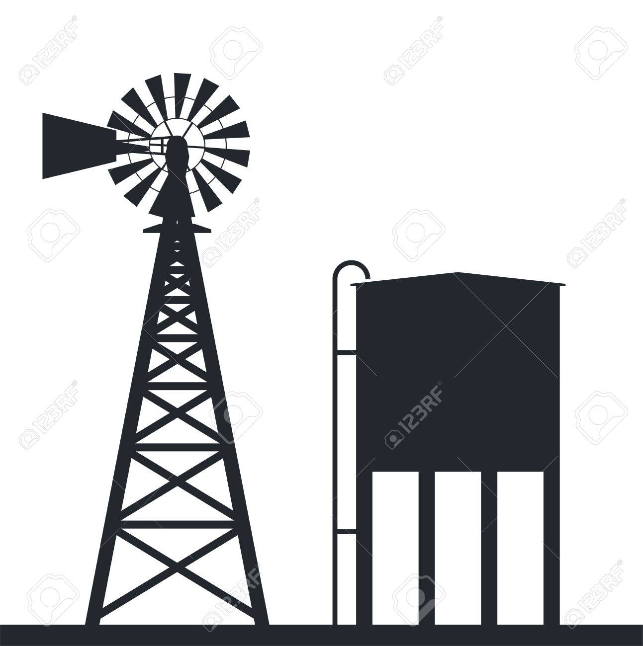black and white background of rural wind pump and water tank - 63224049