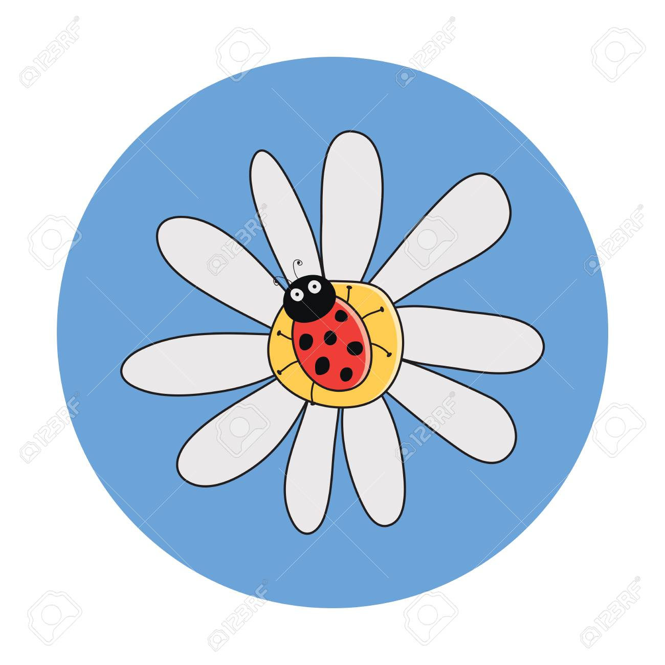 Vector drawing of red ladybird on a camomile flower ladybug vector vector drawing of red ladybird on a camomile flower ladybug cartoon on daisy flowerte dotted lady bug summer illustration izmirmasajfo