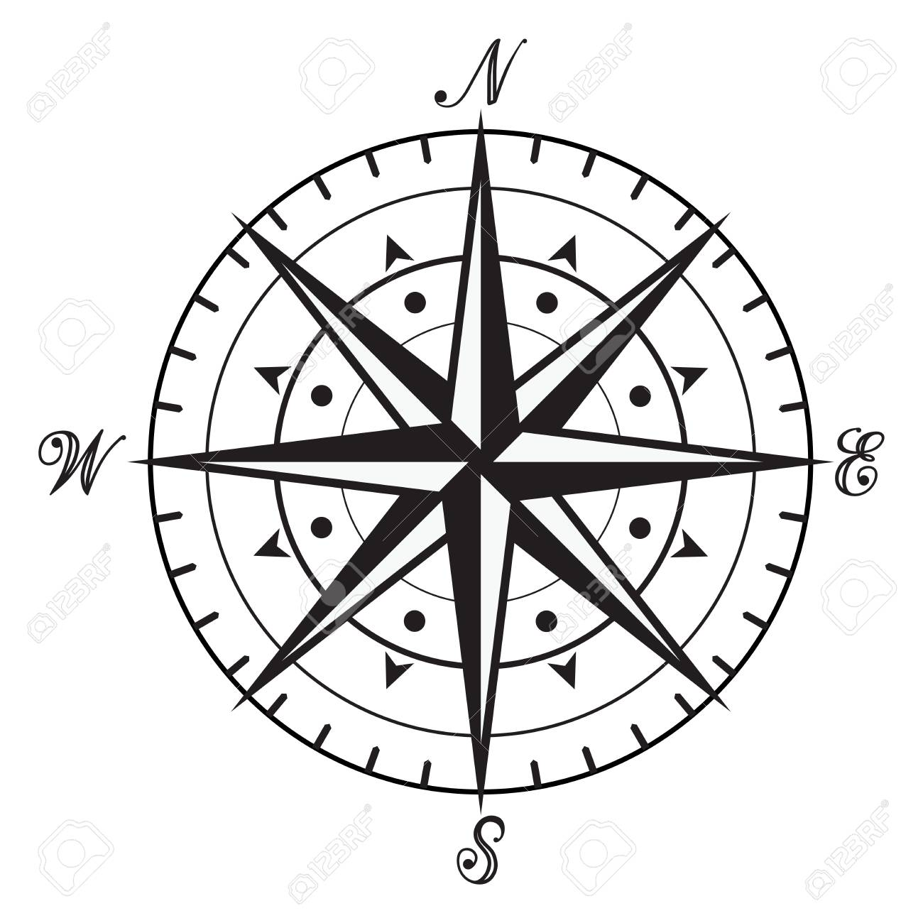 Vector Vintage Black And White Compass Isolated On Background