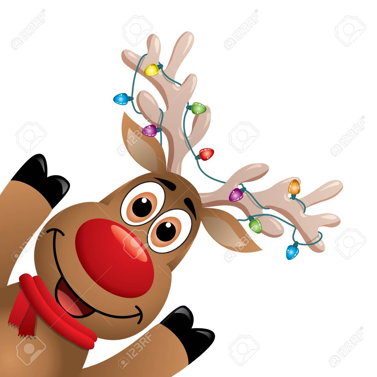 Christmas Lights Cartoon.Cartoon Rudolph Deer With Red Scarf And Christmas Lights On Big