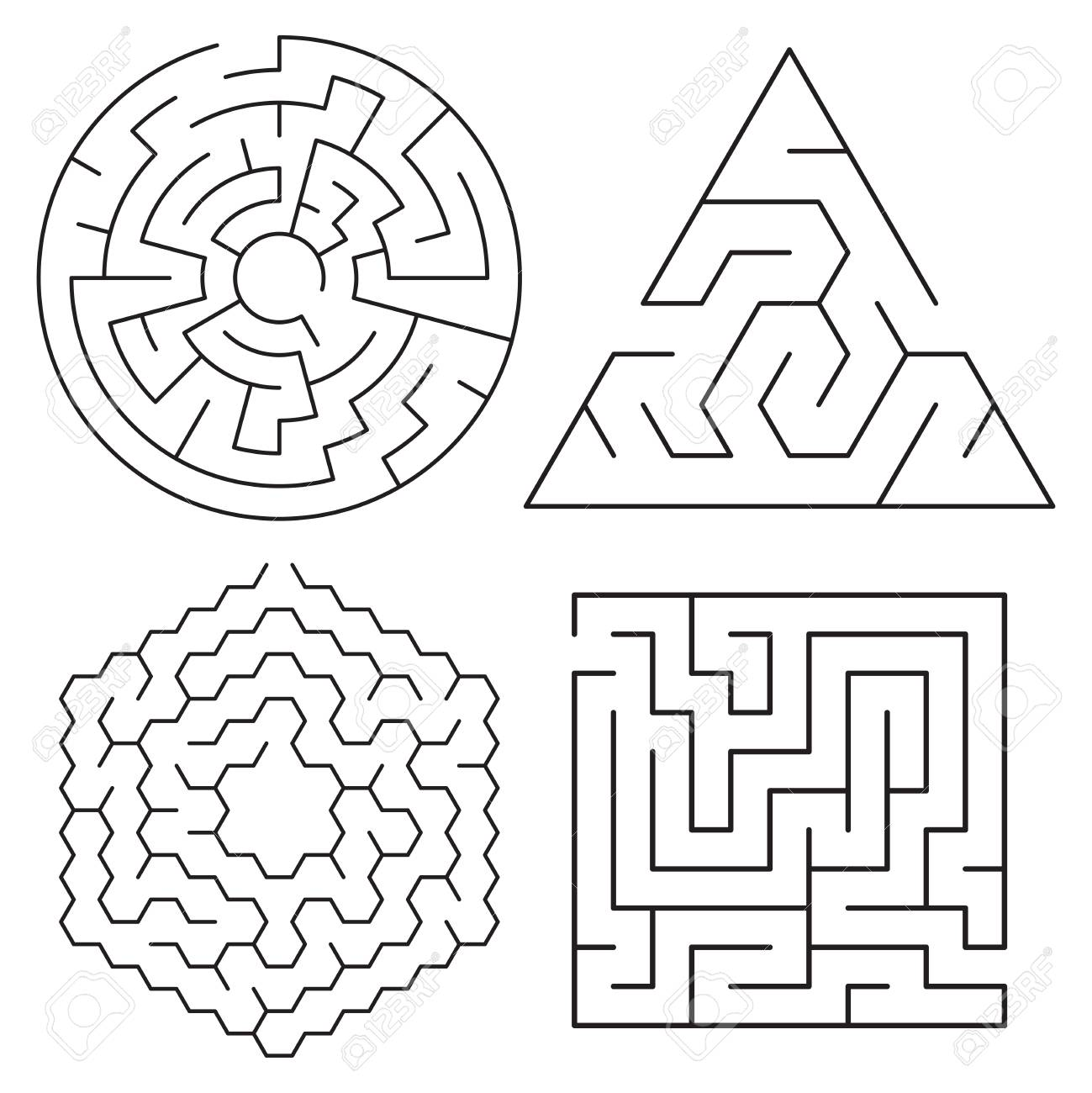 Vector Maze Puzzles Collection Isolated On White Background