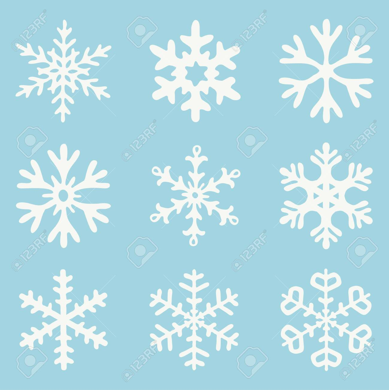 vector set of white snowflakes isolated on blue background. abstract snowflake drawing collection for christmas and winter illustrations - 136981996