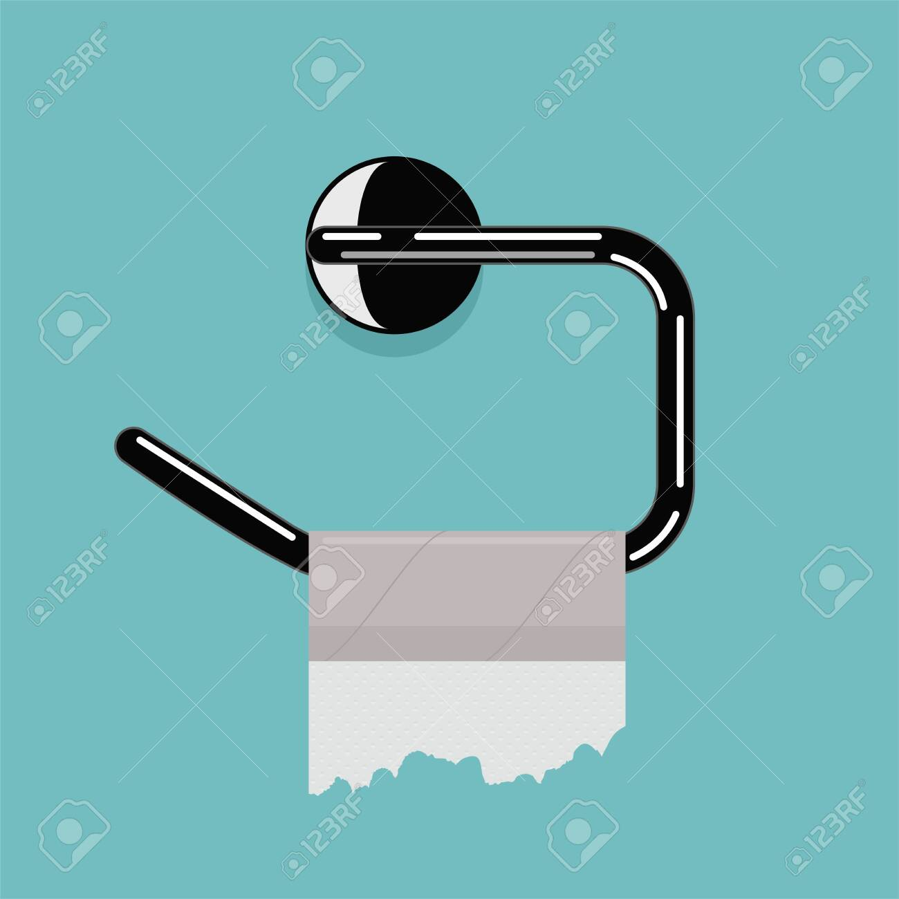 vector empty toilet paper roll and metal holder. hygiene icon of no clean toilet paper in bathroom. flat graphic for household sanitary illustration - 142368970