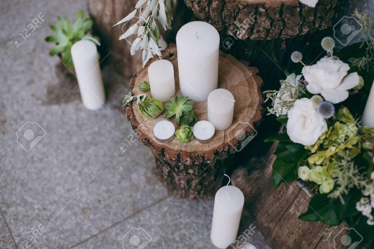 Ursprungliche Hochzeit Blumenschmuck In Form Von Mini Vasen Und