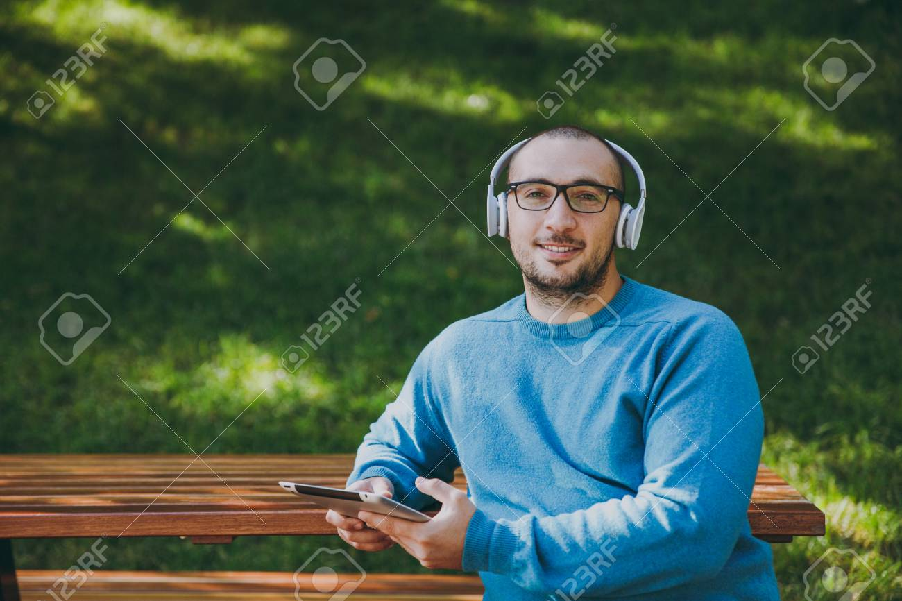 Young Happy Man Businessman Or Student In Casual Blue Shirt