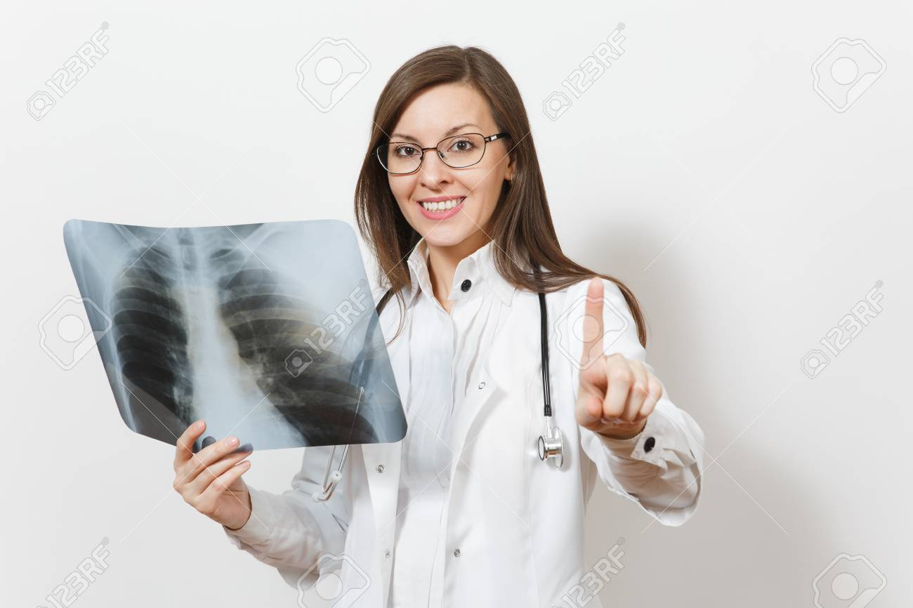 Doctor Woman Touch Something Like Click On Button, X-ray Of Lungs ...