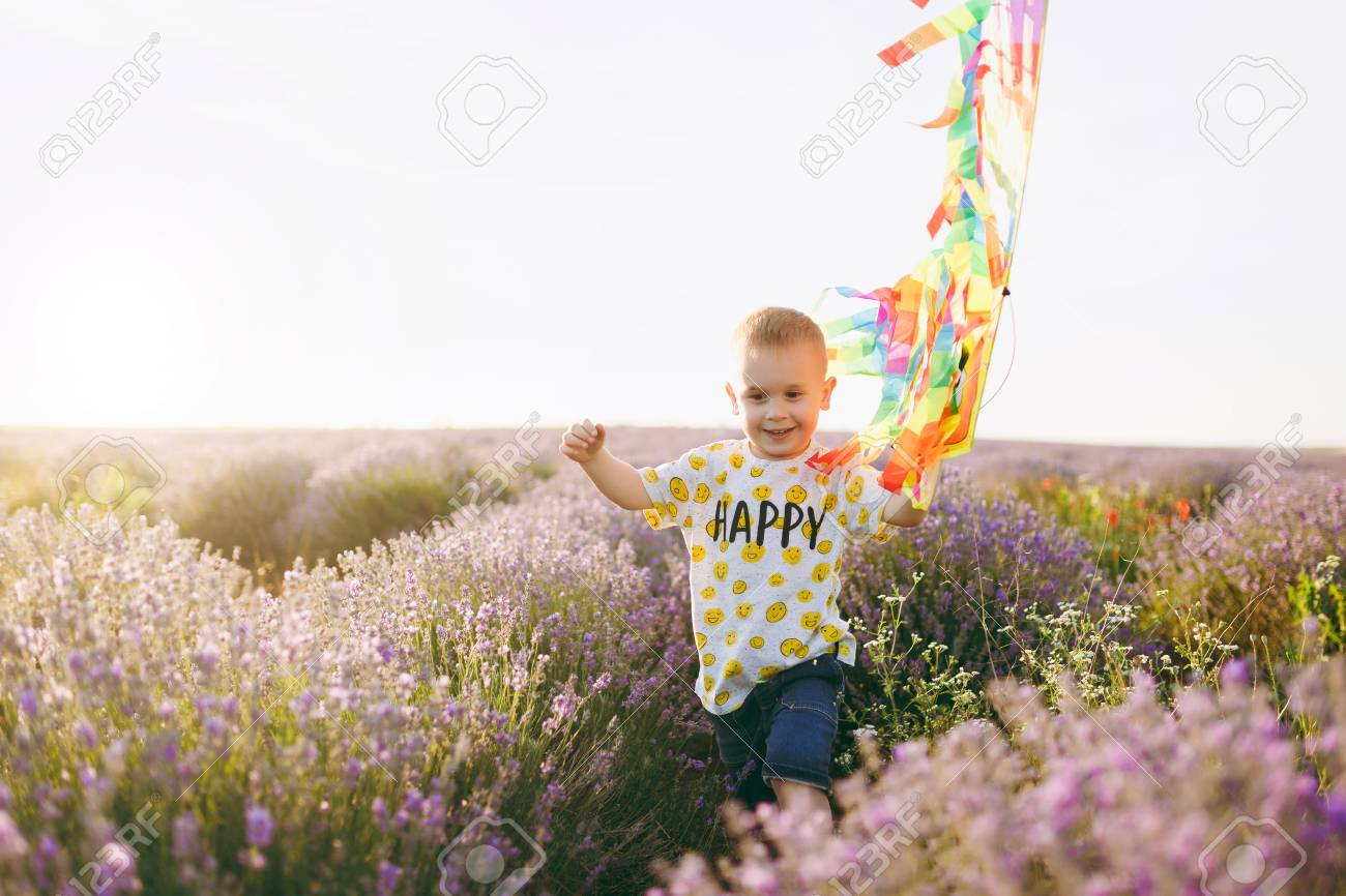 00d286ff3 Playful little cute child baby boy walk on purple lavender flower meadow  field, run,